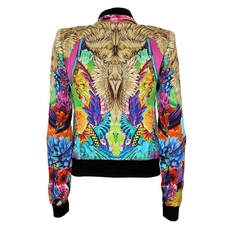 Roberto Cavalli Multicolored Silk Eagles Jacket 2