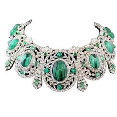 Unique Carlo Zini Emerald Like Collier / Tiara