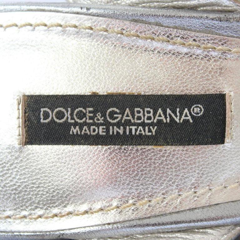 Dolce & Gabbana  Silver Sequins Sandal 39 For Sale 1