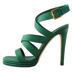 Saint Laurent  Green Metalizer Sandal 39