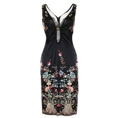 Roberto Cavalli FLoral Dress with Gold Powder 44