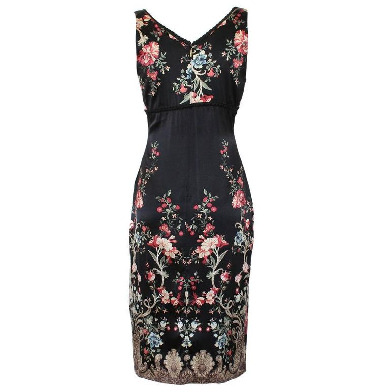 Fantastic dress by Roberto Cavalli Silk Floral theme Black base color With lace Real gold powder application Central golden insert (snake) Length from shoulder cm 100 (39.3 inches) Made in Italy Worldwide express shipping included in the price !