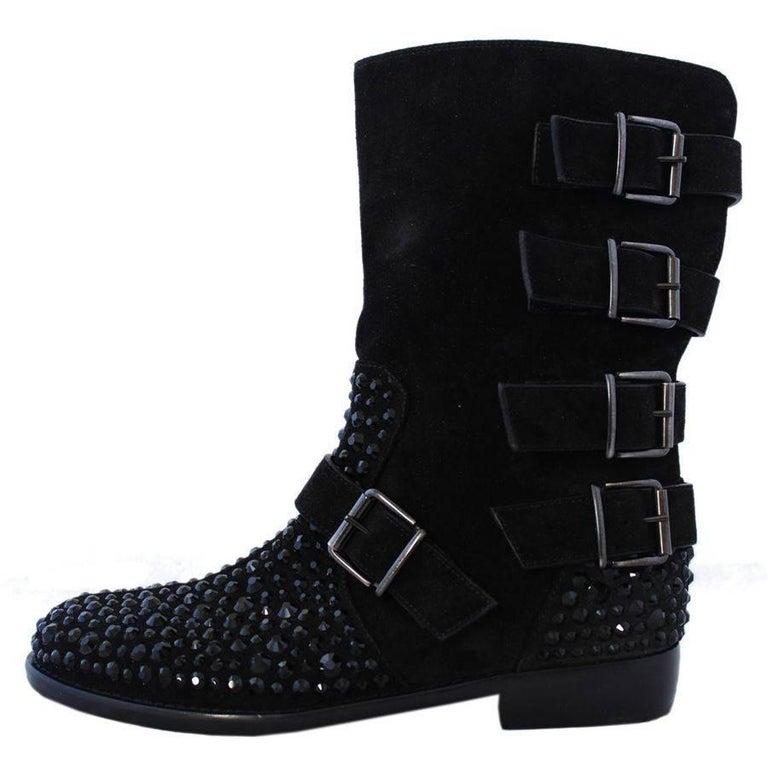 Giuseppe Zanotti  Suede and Rhinestones Boots 38