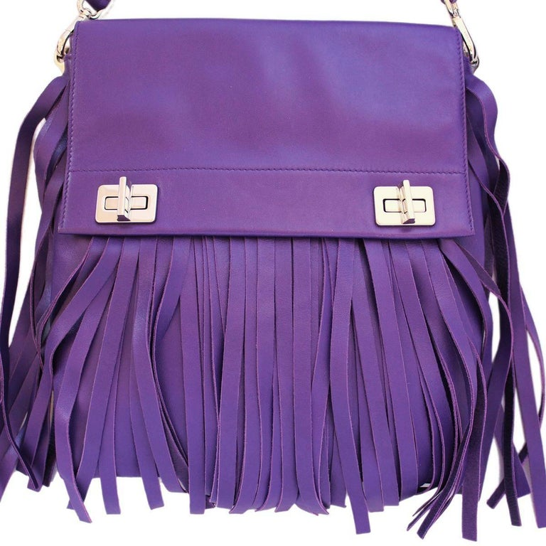Super chic Prada bag Nappa Purple color With fringes Removable shoulder strap Double internal compartment Internal zip pocket Internal phone pocket Cm 22 x 26 x 3 (8.66 x 10.24 x 1.18 inches) Original price € 1700 Made in Italy Worldwide express