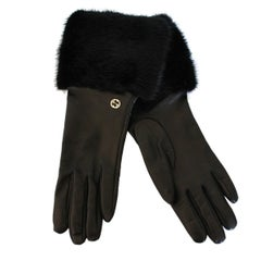 New Gucci Black Leather and Mink Gloves 7,5