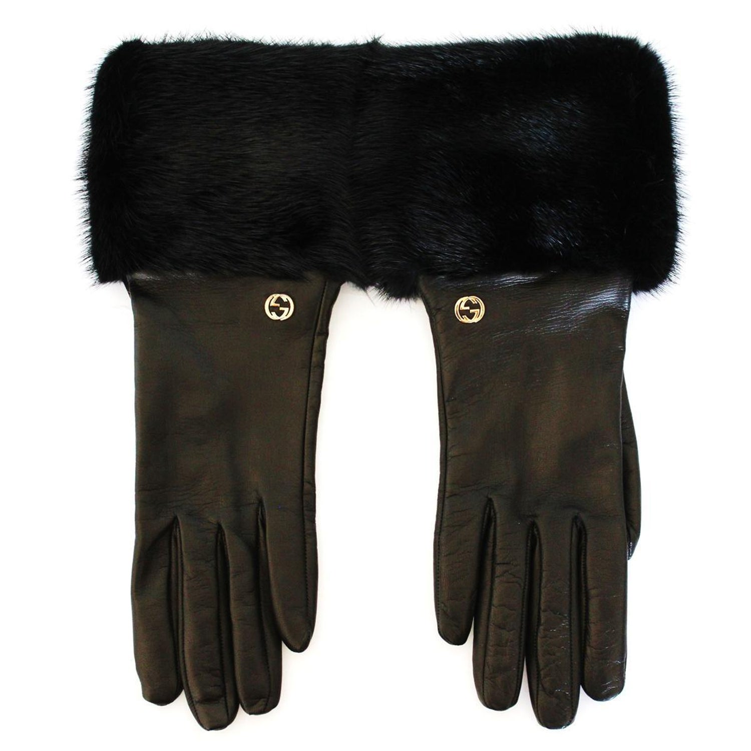 8ed86093 New Gucci Black Leather and Mink Gloves 7,5 at 1stdibs