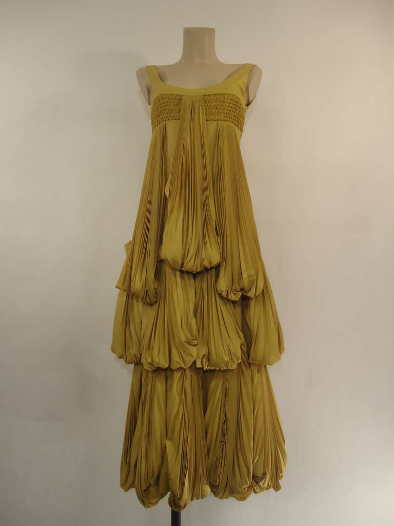 2008 Byblos Ochre Silk Evening Dress 2