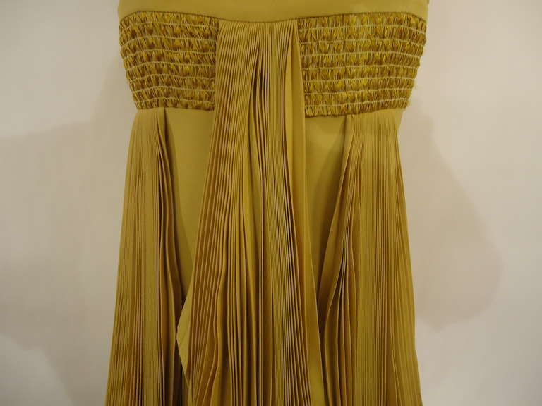2008 Byblos Ochre Silk Evening Dress 5