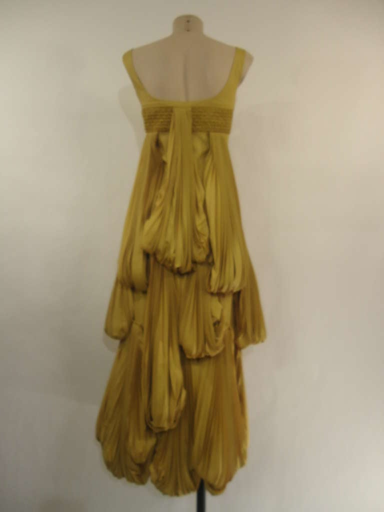 2008 Byblos Ochre Silk Evening Dress 3