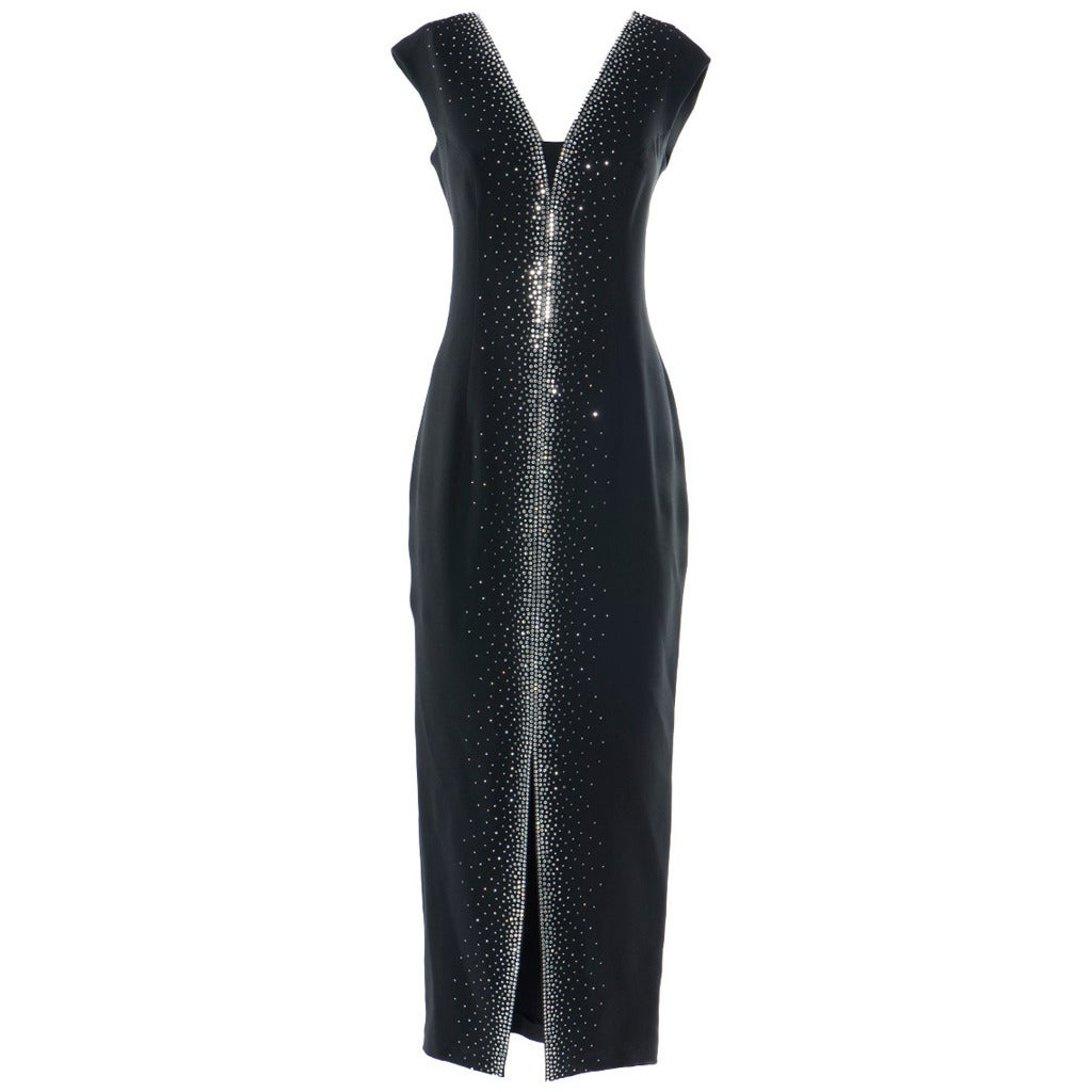gai mattiolo couture swarovsky crystals black dress at 1stdibs