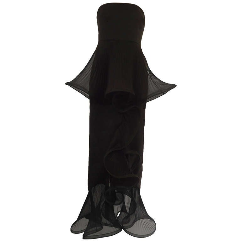 1980s Giorgio Armani Black Label Silk Evening Dress For Sale