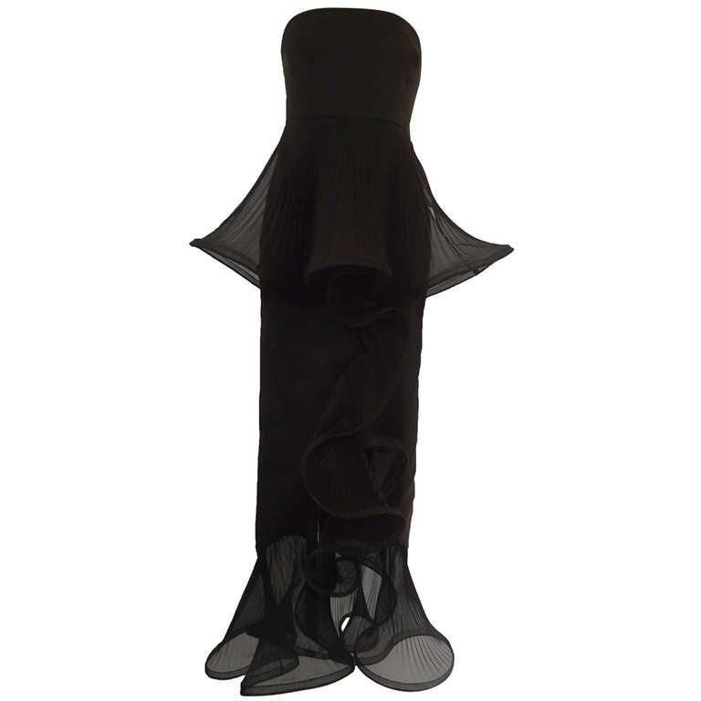1980s Giorgio Armani Black Label Silk Evening Dress 1