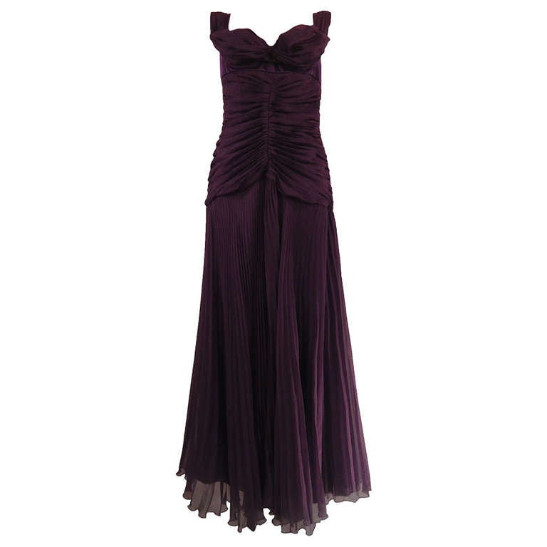 Byblos Purple Silk Plissé Evening Dress, 2008