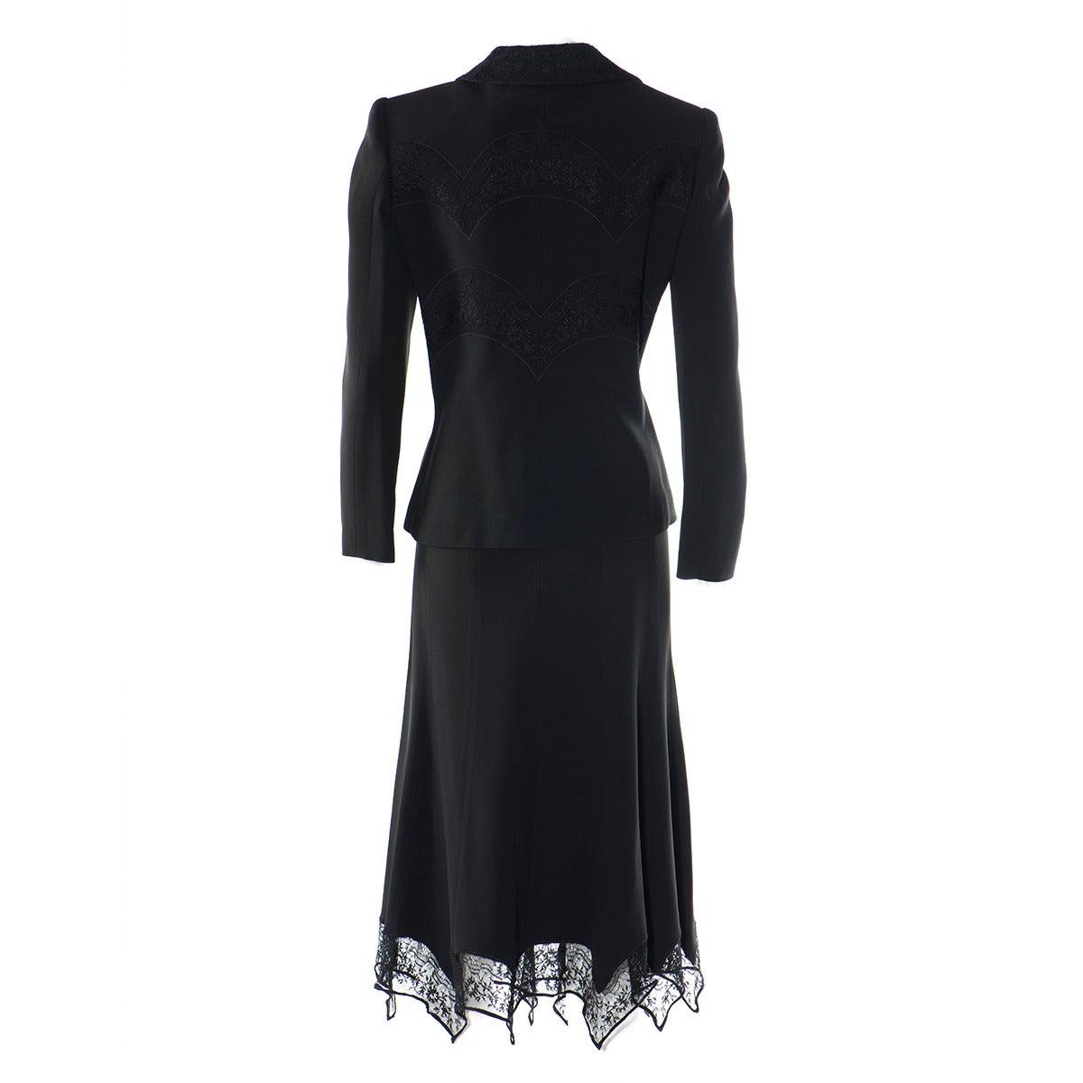 Gai Mattiolo Couture Black Lace and Viscose Skirt Suit 2