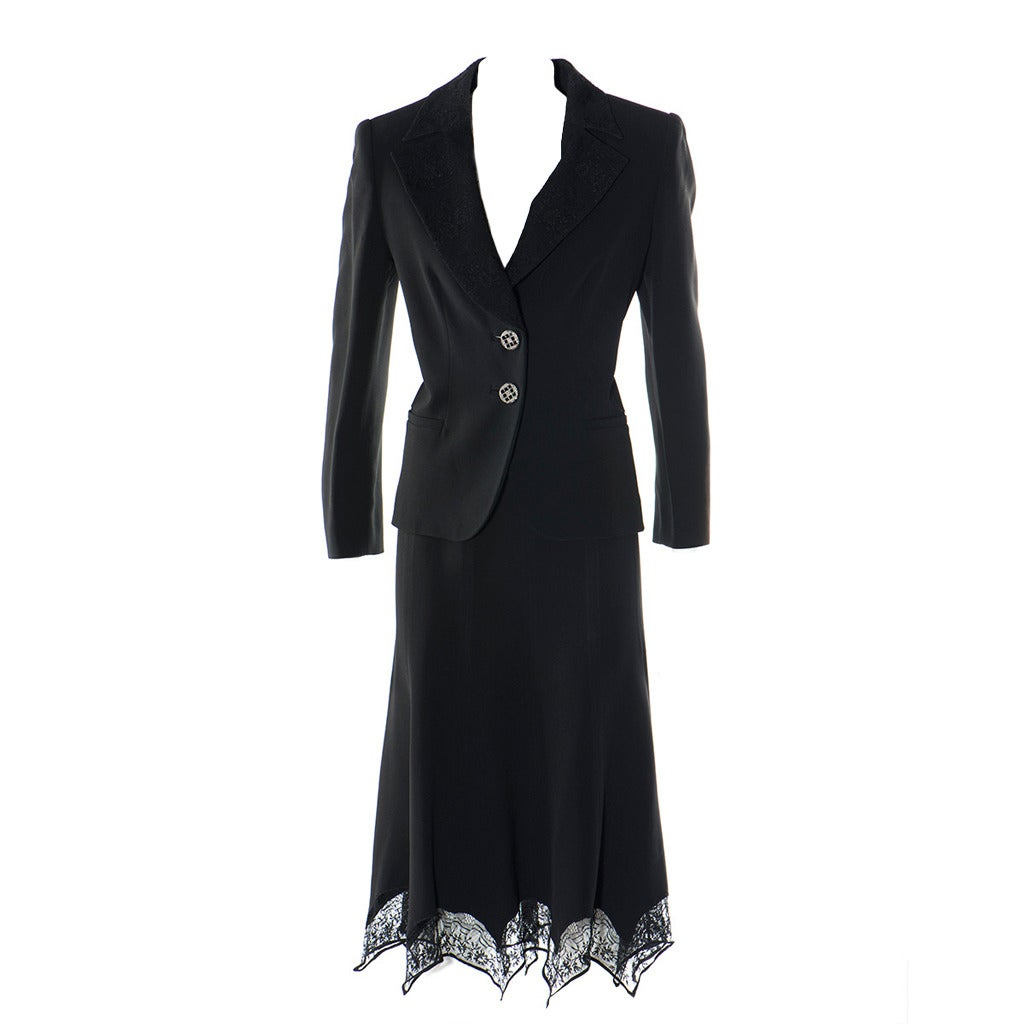 Gai Mattiolo Couture Black Lace and Viscose Skirt Suit 1