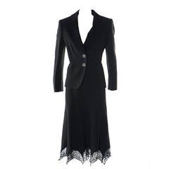 Gai Mattiolo Couture Black Lace and Viscose Skirt Suit