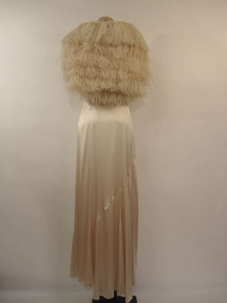 Magnificent Haute Couture dress by Byblos in satin Vintage, early 1990's  Wonderful long dress rose antique / Ivory colour with cloured crystals on shoulder straps.  High tailoring, hand made stitching, seamstress' hand costruction.  93%