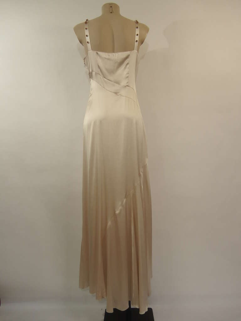 Byblos Haute Couture Runway Silk Dress and Ostrich Shawl, 1990s  For Sale 2