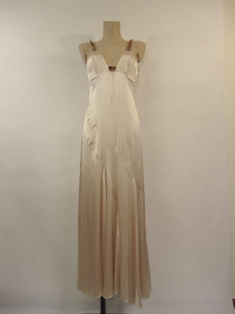 Byblos Haute Couture Runway Silk Dress and Ostrich Shawl, 1990s  For Sale 1