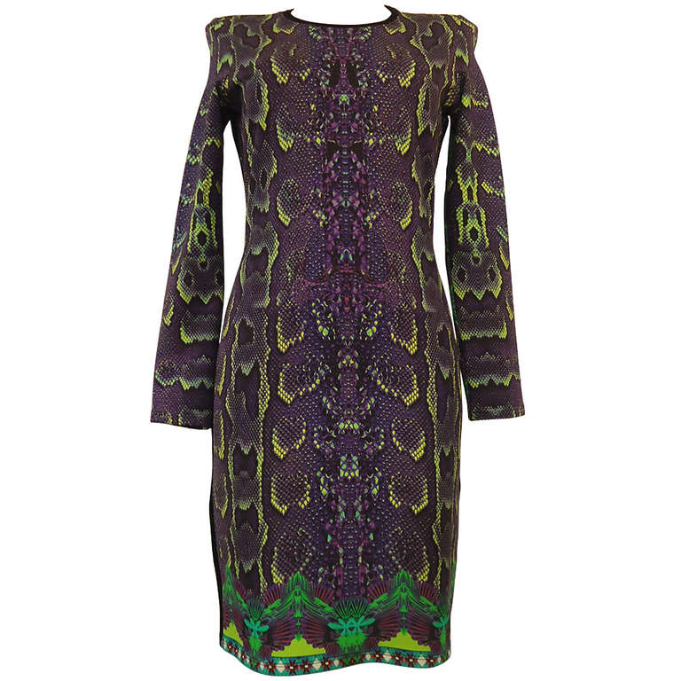 Roberto Cavalli Multicolored Printed Python Dress
