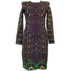 Roberto Cavalli Multicolored Printed Python Dress