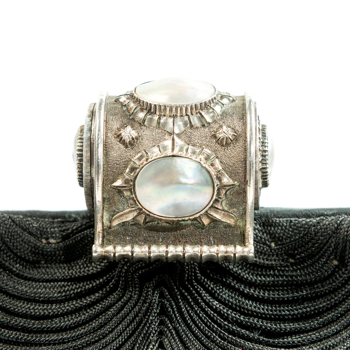 1950s Mario Buccellati Silk and Silver Evening Bag 6