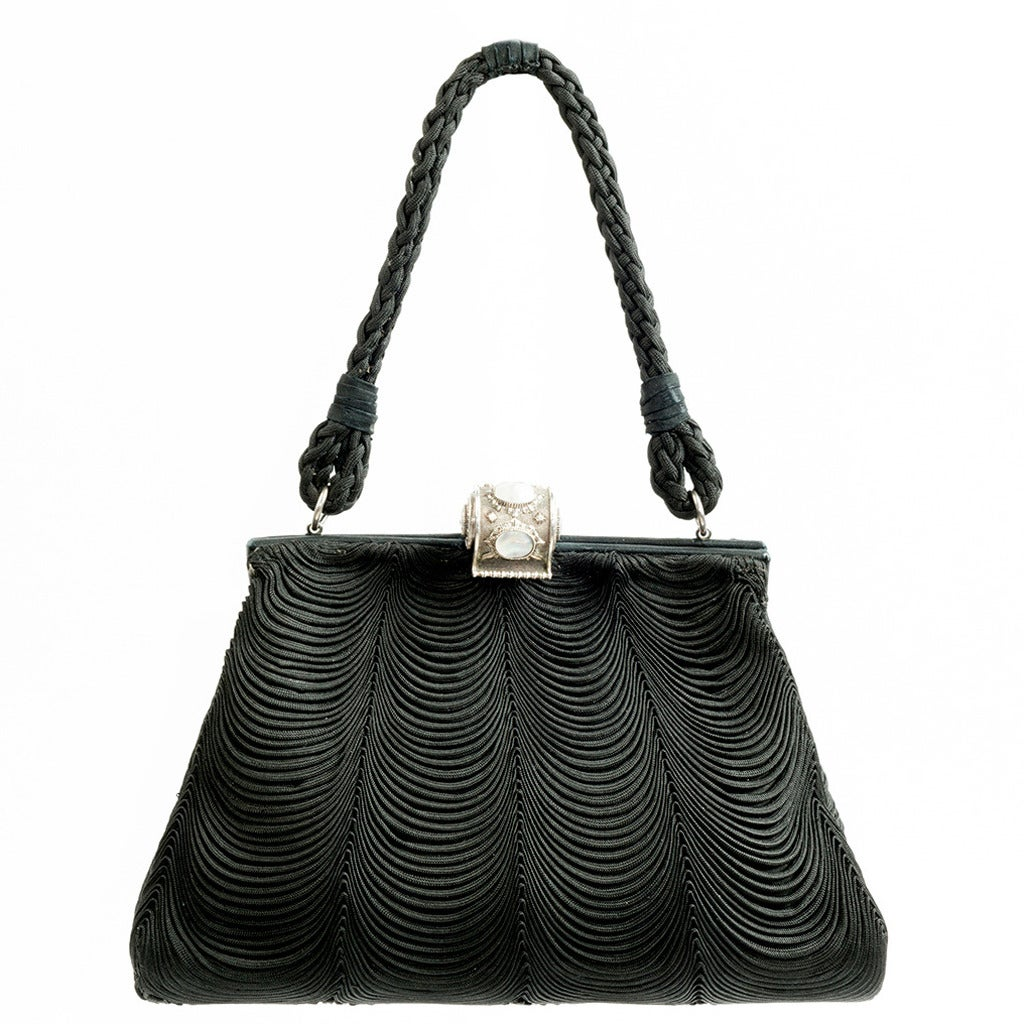 1950s Mario Buccellati Silk And Silver Evening Bag At 1stdibs
