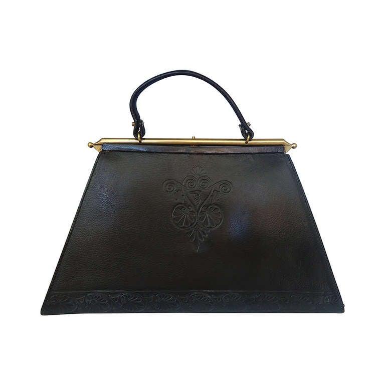 1960 S Trussardi Black Leather Trapezoid Handbag At 1stdibs
