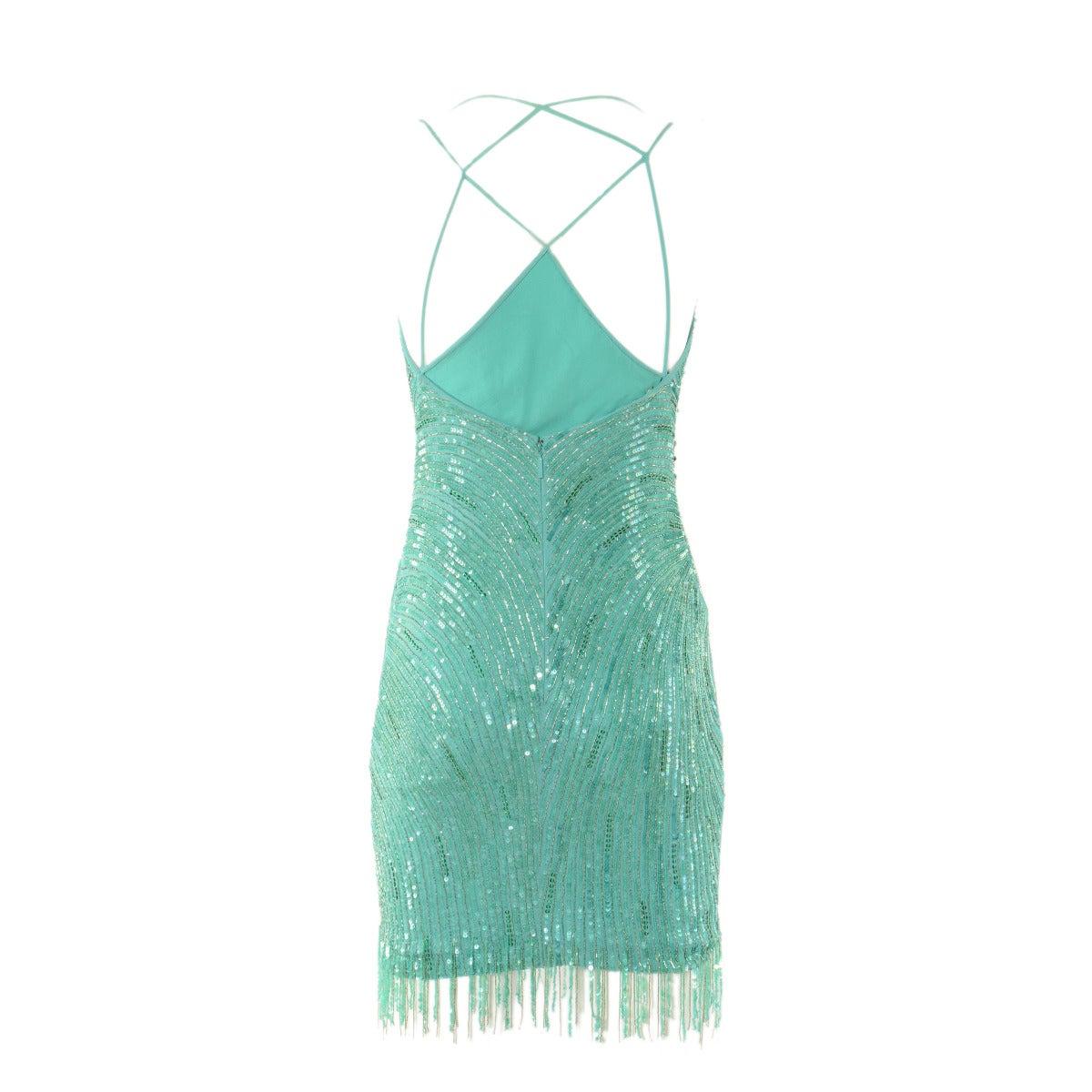 Roberto Cavalli Aqua Green Embroidered Silk Cocktail Dress 2