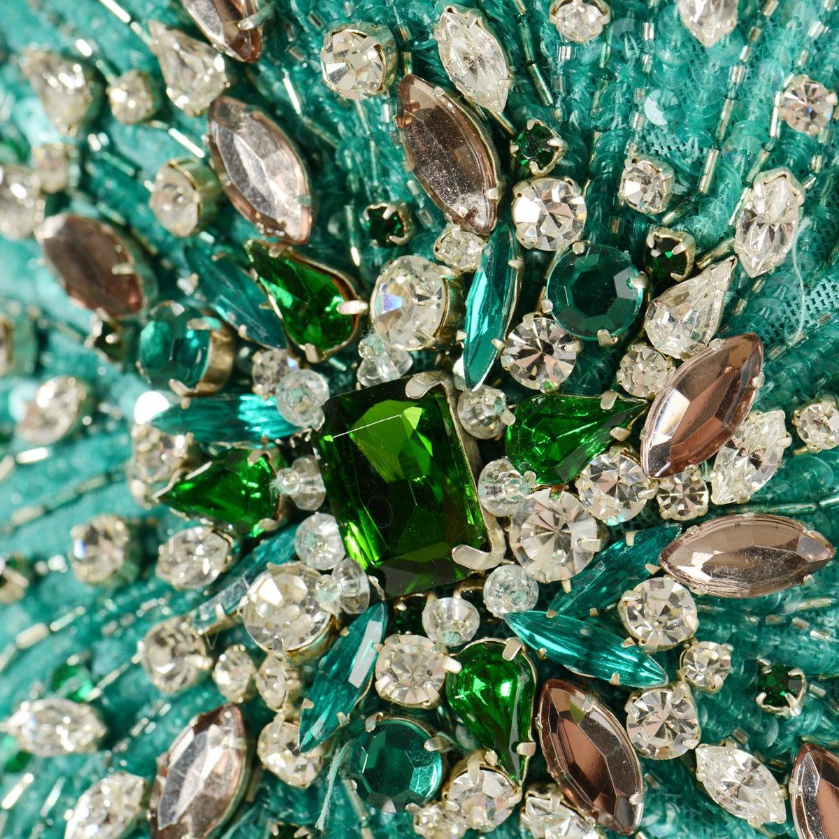 Roberto Cavalli Aqua Green Embroidered Silk Cocktail Dress 3