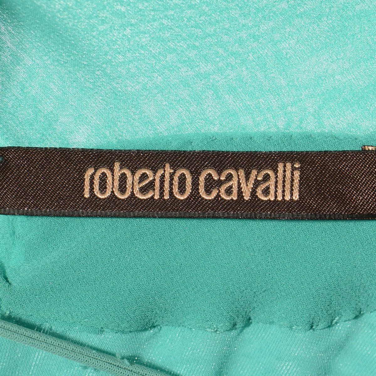 Roberto Cavalli Aqua Green Embroidered Silk Cocktail Dress 4
