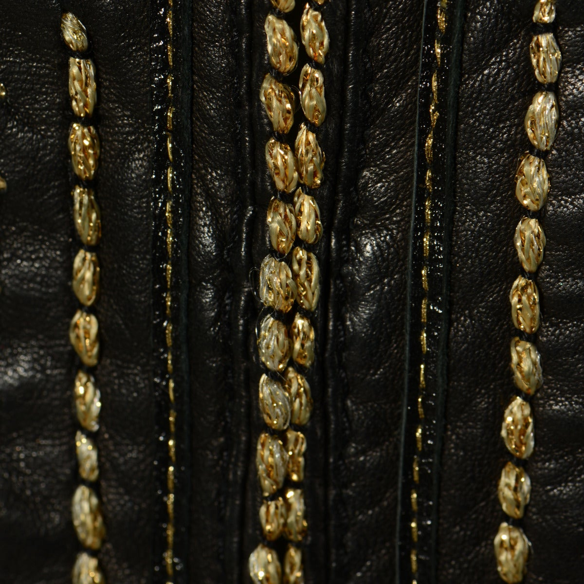 Roberto cavalli black leather golden embroidery jacket at