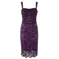 Dolce&Gabbana Purple Lace Evening Dress