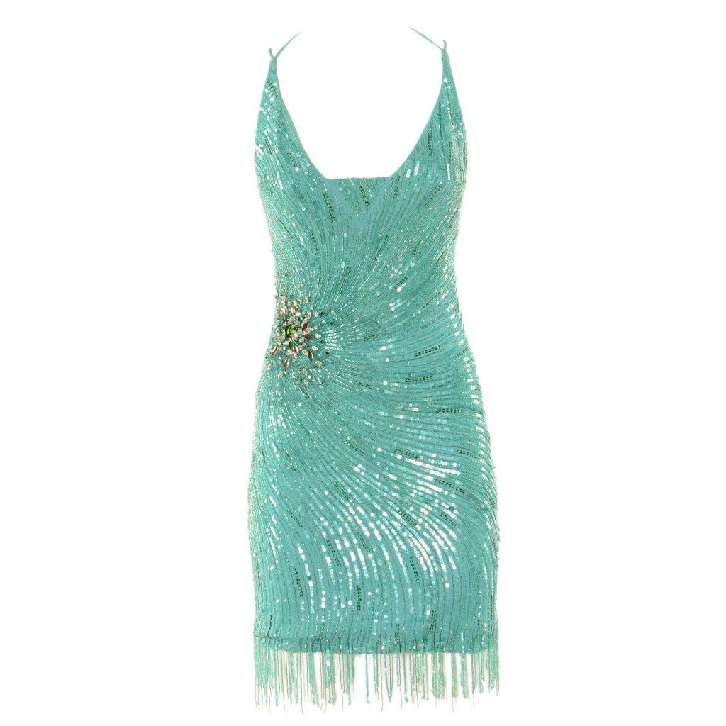 Roberto Cavalli Aqua Green Embroidered Silk Cocktail Dress 1
