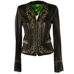 Roberto Cavalli Black Leather Golden Embroidery Jacket