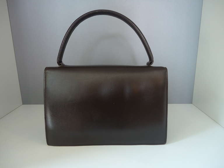 1950s Albanese Italy Dark Brown Leather Handbag At 1stdibs