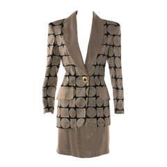 1990s Gai Mattiolo Viscose Skirt Suit