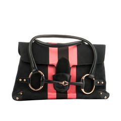 Gucci Striped Black and Fuchsia Textile Bag