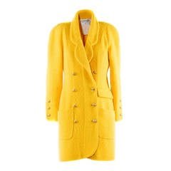 1990s Chanel Boutique Yellow Double Breasted Wool Coat