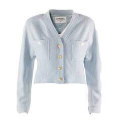 1990s Chanel Boutique Light Blue Wool Bolero Jacket
