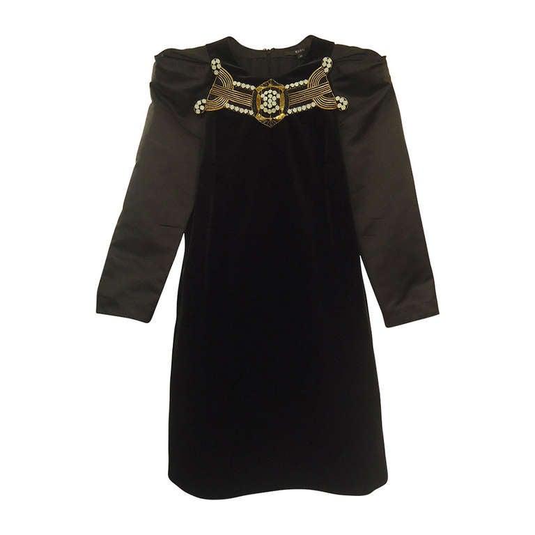 Gucci Black Velvet Taffeta Dress