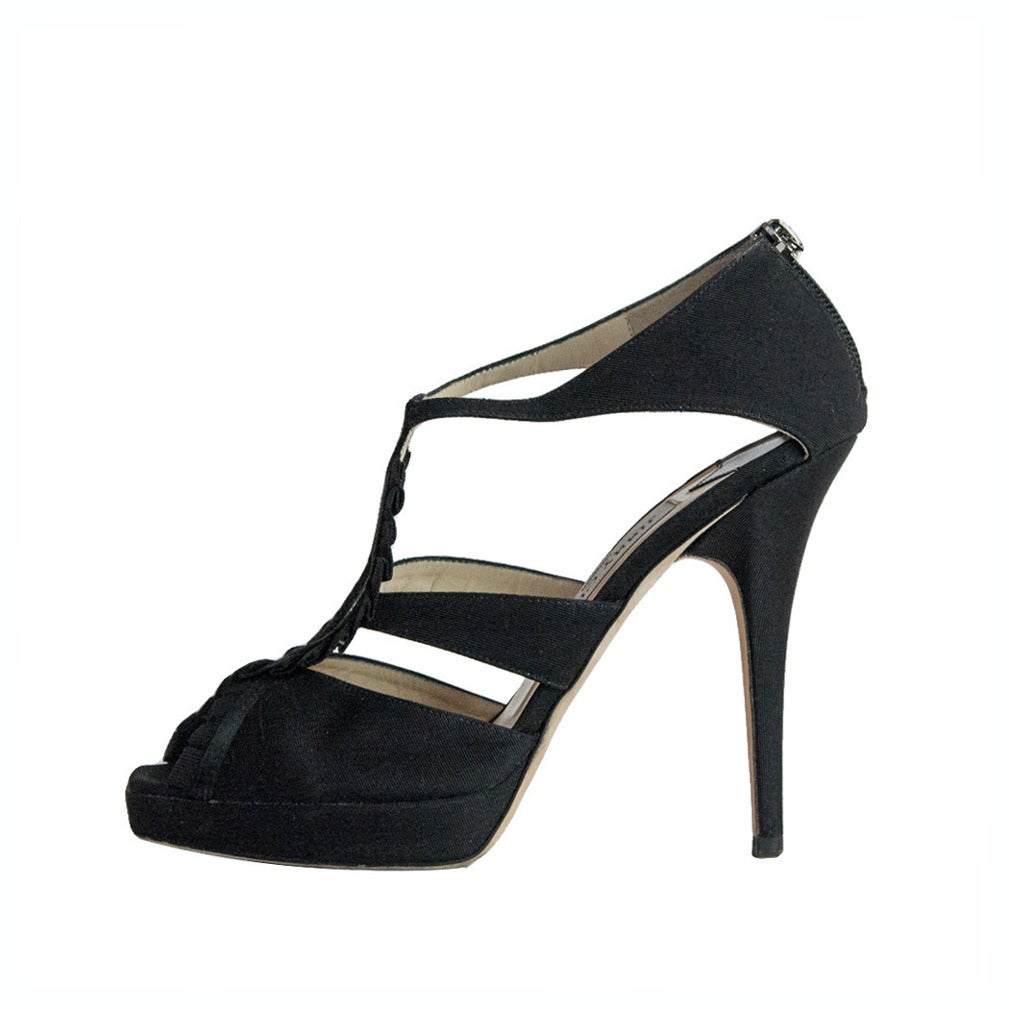 Jimmy Choo Black Satin Sandal For Sale