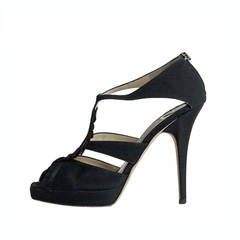 Jimmy Choo Black Satin Sandal