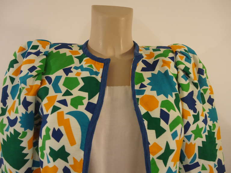 1980's Saint Laurent Rive Gauche Vintage Multicolored Bolero Jacket 3