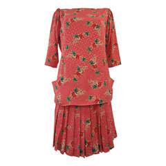 1990s Emanuel Ungaro Parallèle Paris Silk Skirt Suit