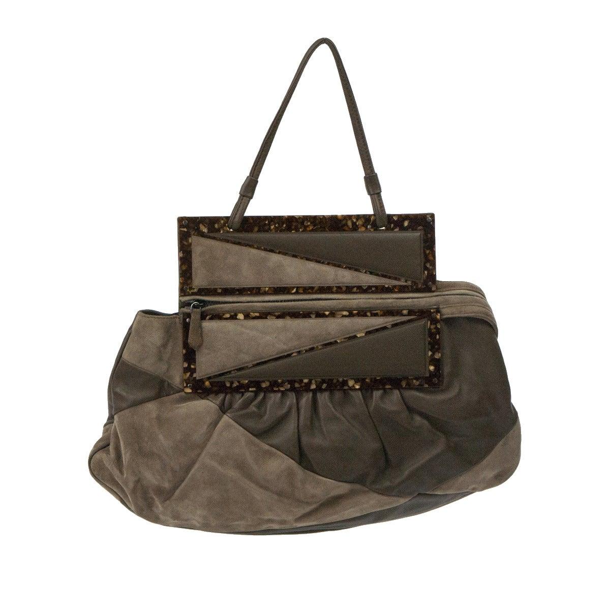 Fendi Leather and Buckskin Turtledove One Handle Bag
