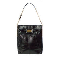Roger Vivier Black Python Mikado Flat Bag