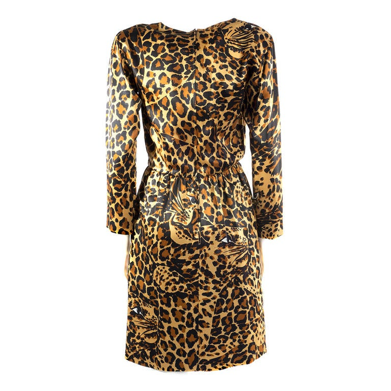 Saint Laurent Rive Gauche Leopard Print Silk Dress 2