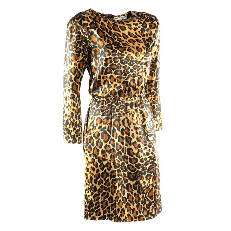 Saint Laurent Rive Gauche Leopard Print Silk Dress 3