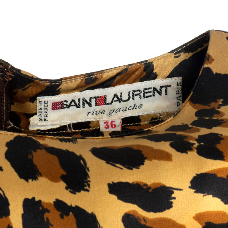 Saint Laurent Rive Gauche Leopard Print Silk Dress 5